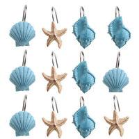 12Pcs Decorative Seashell Bath Shower Curtain Hooks Blue Bathroom Beach Decor