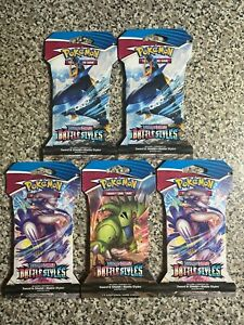 Pokemon Trading Card Game Sword & Shield BATTLE STYLES Booster Packs (LOT OF 5)