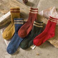 5 Pairs Women Girls Cashmere Wool Blend Turn Cuff Cozy Warm Socks Many Colors