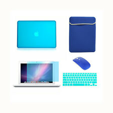 """5in1 Rubberized AQUA Case for Macbook White 13"""" +Keyboard Cover + LCD+ Bag+Mouse"""