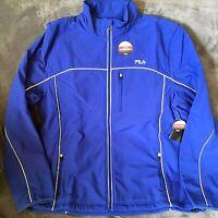 FILA Men's Adventure Jacket Blue Water Repellent Mens Large LM153MF2 Reflective