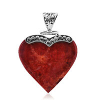 925 Sterling Silver Sponge Coral Valentine Heart Pendant Gift Jewelry for Women