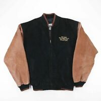 Vintage BURK'S BAY Black Country Western Dance Leather Bomber Jacket Mens Size M