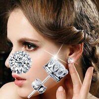Women Fashion Chic Silver Brilliant Cut Clear CZ Crystal Stud Crown Earrings