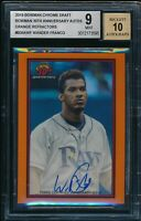 BGS 9/10 WANDER FRANCO AUTO 2019 Bowman Chrome 30th ORANGE REFRACTOR #/25 MINT