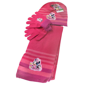 Official Disney Minnie Mouse Girls Hat, Gloves & Scarf Set Child