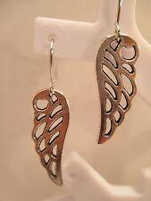 earrings wings angel fairy silver tone charm hook dangle gift