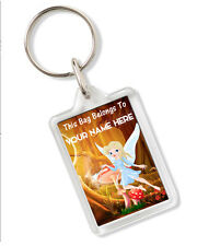 Personalised Fairy Design Childrens Childs School Bag Tag Keyring Any Name AK226
