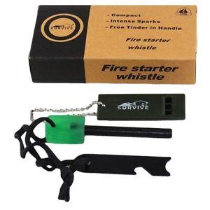 Survival kit, firestarter, multi tool including can opener, and survival whistle