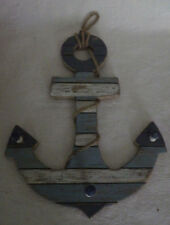 "Nautical Anchor with Hooks Wooden Wood Sign Home Decor New 16"" x 12"""