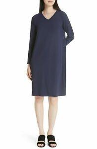 NWT Eileen Fisher V-Neck Shift in Midnight Blue Viscose Jersey Dress sz M Medium