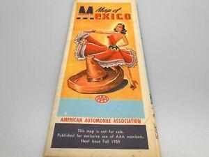 AAA Travel Highway Map of Mexico Vintage 1950's Era Lady Dancer Sombrero