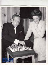 Deborah Kerr plays chess w/Adolphe Menjou VINTAGE Photo The Hucksters set candid