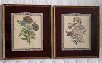 Antique Reverse Painted Burgundy Glass Framed Matted Rose Floral Art Deco Print