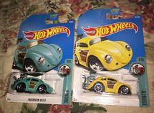 Hot Wheels VW Volkswagen Beetle Bug Tooned Yellow Green Turquoise 7/10 Lot
