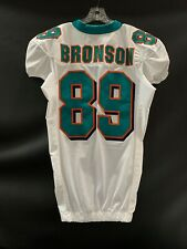#89 JARED BRONSON MIAMI DOLPHINS GAME USED WHITE REEBOK JERSEY YEAR 2009 SZ-46