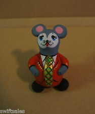 Russian Folk Art Pottery - Hand Painted Mouse Whistle #3