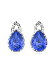Amazing Shiny Silver & Royal Blue Tear Studs Earrings E615