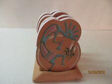 Vintage Stoneware Clay Southwest Drink Coasters-Kokopelli Figures Set Of 4