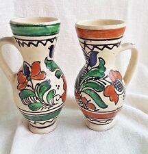 2 VINTAGE HUNGARIAN signed Collectable GREEN KOROND decorative folk art jug vase