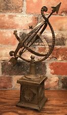 "Cast Iron 13.5"" Tall Vintage-Style Garden or Table Sphere Armillary"