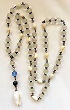 "Vintage Antique Czech Deco Camphor Glass Seashell Shell 36"" Necklace"