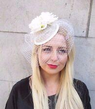 Ivory Rose Birdcage Veil Flower Fascinator Races Headpiece Hair Clip Hat 2375