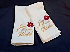Christmas Hand Towels Set of 2 White Joy To The World St Nicholas Square