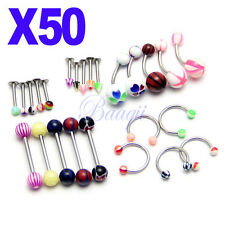 50x Assorted 16G 14G Ring Bar  Body Jewelry Nipple Belly Labret RingsEW