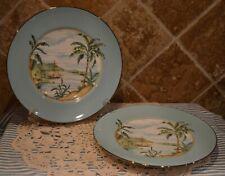 "Two Gorgeous Lenox Plates~9 1/4"" Diameter~Euc~Colonial Tradewind~Palm Trees~Wow!"