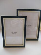 "Kate Spade Lenox Portland Place 2 Pc 4x6"" & 5x7"" Photo Picture Frame Navy Cream"