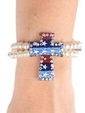 American July 4th Patriotic USA Memorial Day Stars Cross Bracelet Red White Blue