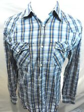 Point Zero Mens XL Xlarge Blue Shirt Plaid Snap Button Down Long Sleeve Cotton