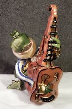2002 Blue Sky Corp - Green Frog Playing Fiddle Candle House by Heather Goldminc