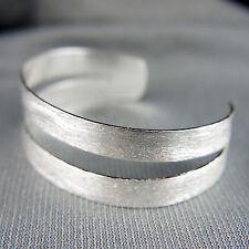 Brushed Silver elegant solid big bangle bracelet