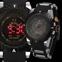 SHARK LED Day Date Digital Analog Dual Time Men Sport Silicone Band Quartz Watch