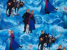 FROZEN Character Elsa Ana Olaf BLUE Fabric FQ Fat Quarter 100% Cotton 18 x 22