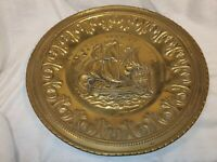 Vintage Brass Wall Plate by Peerage Sailing Ship 12 Inch Wide In Good Condition