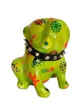 Pomme Pidou Spardose Hund mit Halsband Bulldogge / Mops Lizzy grün Marienkäfer