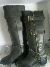 Colin Stuart Black Leather Boots 7.5 Buckle Straps Zipper Motorcycle Victoria Se