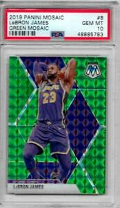 LEBRON JAMES 2019-20 PANINI MOSAIC #8 GREEN MOSAIC PSA 10 GRADED
