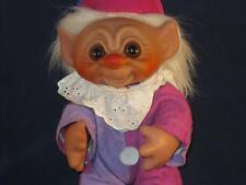 """8.5"""" 1977 Dam Boy Clown Troll White Hair A Felt Purple & Mauve Clown Outfit U340"""