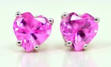 2 Ct Pink Sapphire 6mm Heart Stud Earrings .925 Sterling Silver