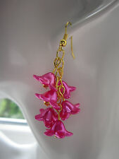 Goccia/Dangle Earrings-Fucsia/Rosa Shocking e Oro Grappolo-Placcato oro