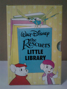 1990 Vintage Disney THE RESCUERS Little Library Board Books Box Set / Lot of 4