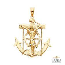 Mariner Religious Crucifix Pendant 14K Yellow Gold ,Mariner Religious Crucifix