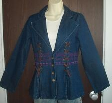 NEW EMBROIDERED DENIM WOMEN'S JACKET by PYRAMID COLLECTION size XS