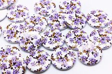 Purple Flower Wooden Button White Elegant Floral Coat Sew Wood Button 25mm 20pcs