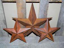 "SET of 3 12"" 8"" RUSTY BLACK BARN STAR Metal Tin Rust Primitive Country Farmhous"