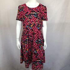 New Lularoe Amelia Dress 2XL XXL Pink Geometric Print Short Sleeve Pockets